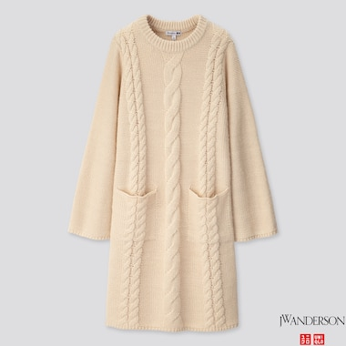 WOMEN CABLE LONG-SLEEVE DRESS (JW ANDERSON), NATURAL, medium