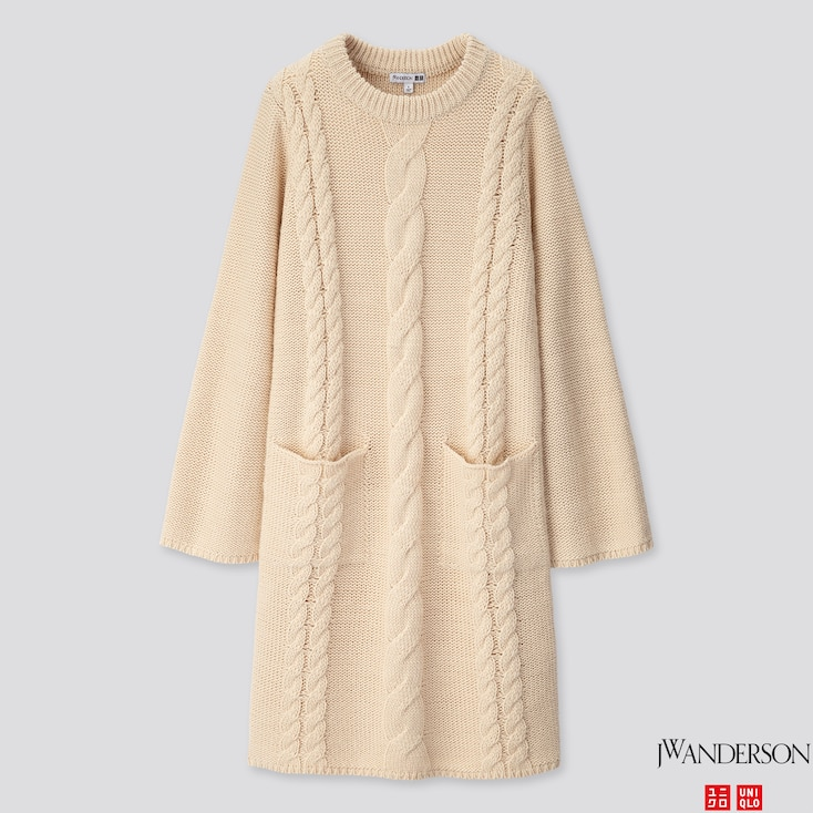 WOMEN CABLE LONG-SLEEVE DRESS (JW ANDERSON), NATURAL, large