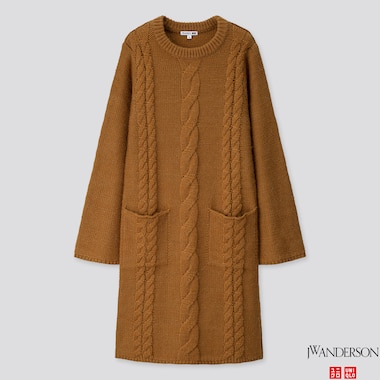 WOMEN CABLE LONG-SLEEVE DRESS (JW ANDERSON), BROWN, medium