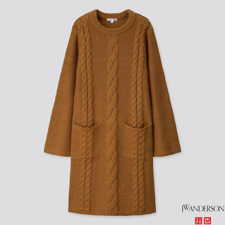 Women Cable Long-sleeve Dress (jw Anderson), Brown, Large