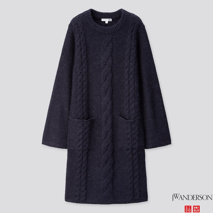 WOMEN CABLE LONG-SLEEVE DRESS (JW ANDERSON), NAVY, large