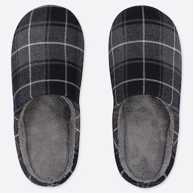 FLANNEL SLIPPERS, DARK GRAY, medium