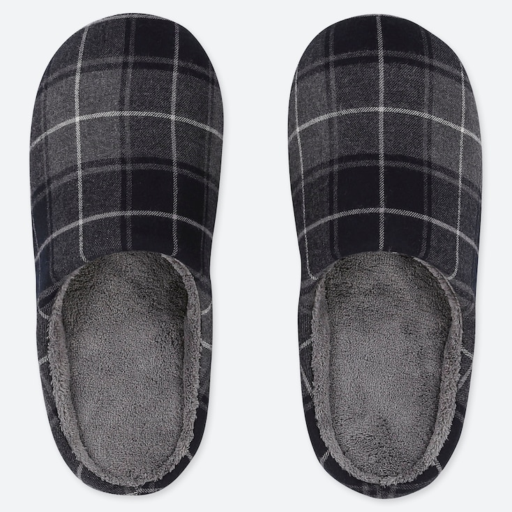 FLANNEL SLIPPERS, DARK GRAY, large