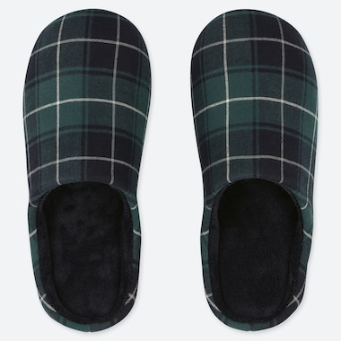 FLANNEL SLIPPERS, GREEN, medium
