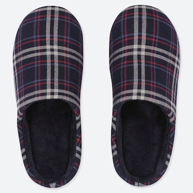 FLANNEL SLIPPERS, NAVY, medium