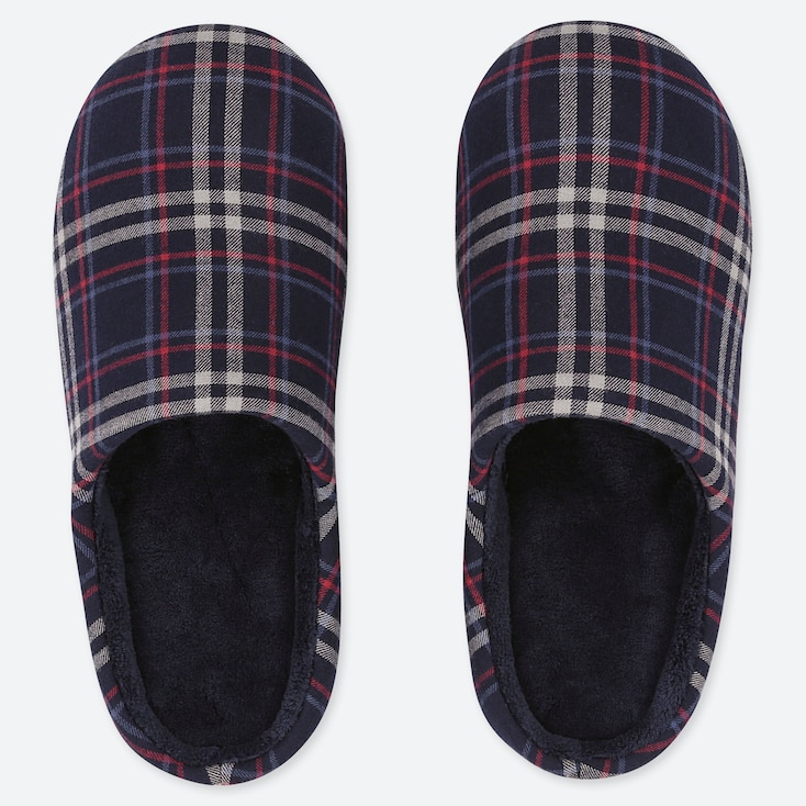 FLANNEL SLIPPERS, NAVY, large
