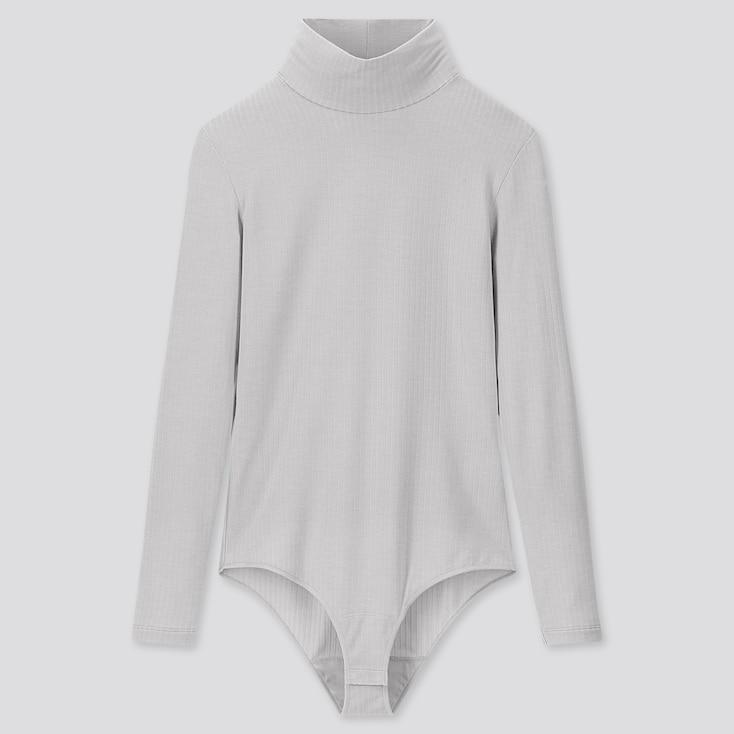 Women Heattech Extra Warm Ribbed Bodysuit, Gray, Large