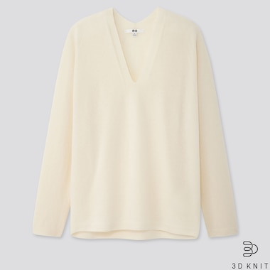 WOMEN 3D CASHMERE V-NECK COCOON SWEATER, OFF WHITE, medium
