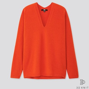 WOMEN 3D CASHMERE V-NECK COCOON SWEATER, ORANGE, medium