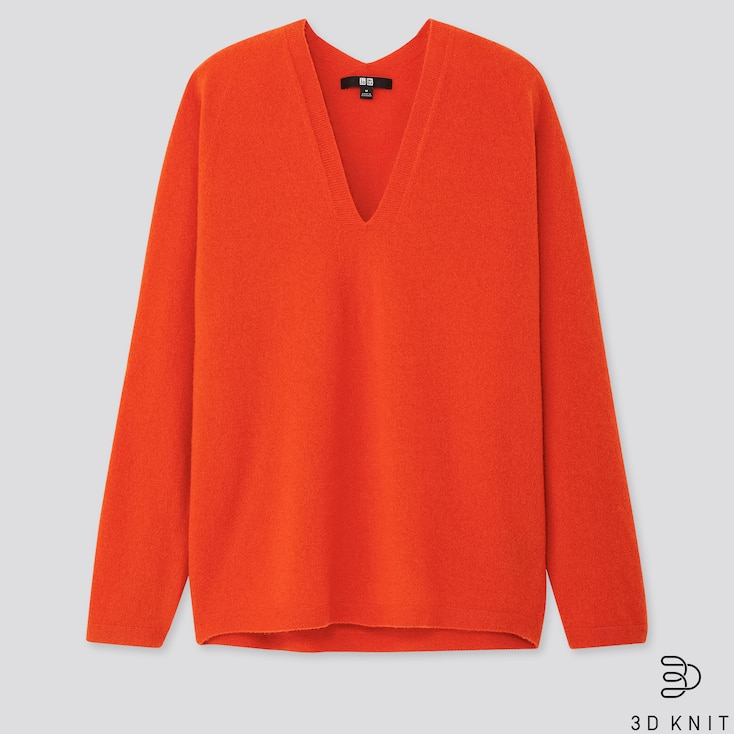 WOMEN 3D CASHMERE V-NECK COCOON SWEATER, ORANGE, large