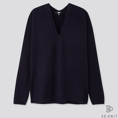 WOMEN 3D CASHMERE V-NECK COCOON SWEATER, NAVY, medium