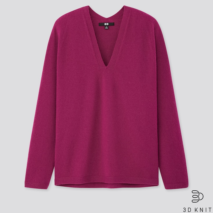 Women 3d Cashmere V-neck Cocoon Sweater, Purple, Large