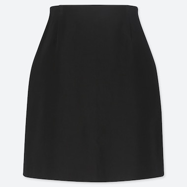 WOMEN STRETCH SATIN MINI SKIRT, BLACK, medium