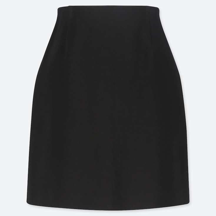 WOMEN STRETCH SATIN MINI SKIRT, BLACK, large