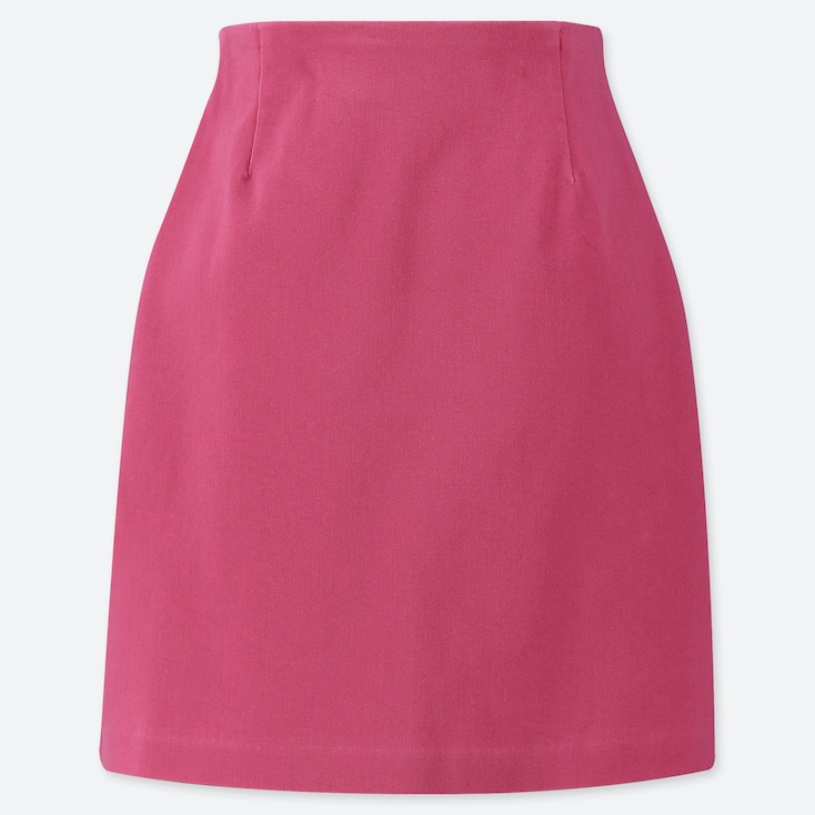 WOMEN STRETCH SATIN MINI SKIRT, PINK, large