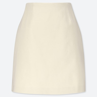 WOMEN STRETCH SATIN MINI SKIRT, NATURAL, medium