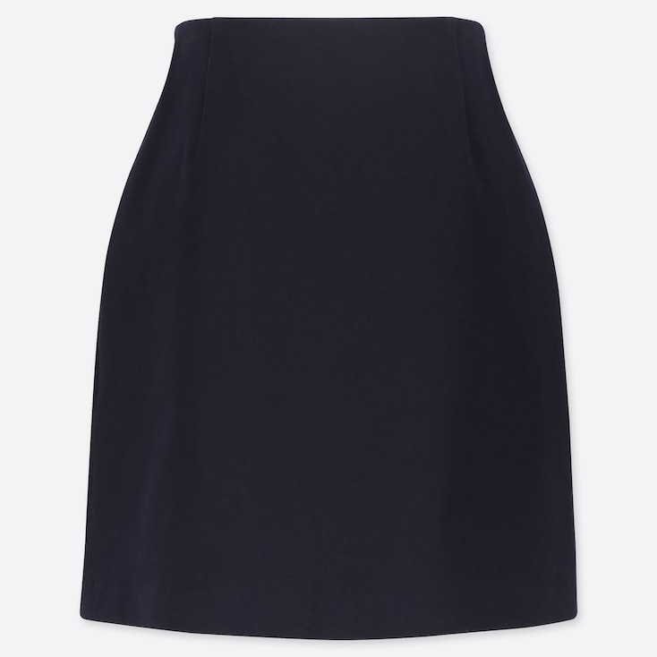 WOMEN STRETCH SATIN MINI SKIRT, NAVY, large