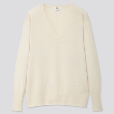 WOMEN EXTRA FINE MERINO RELAXED V-NECK SWEATER, OFF WHITE, medium