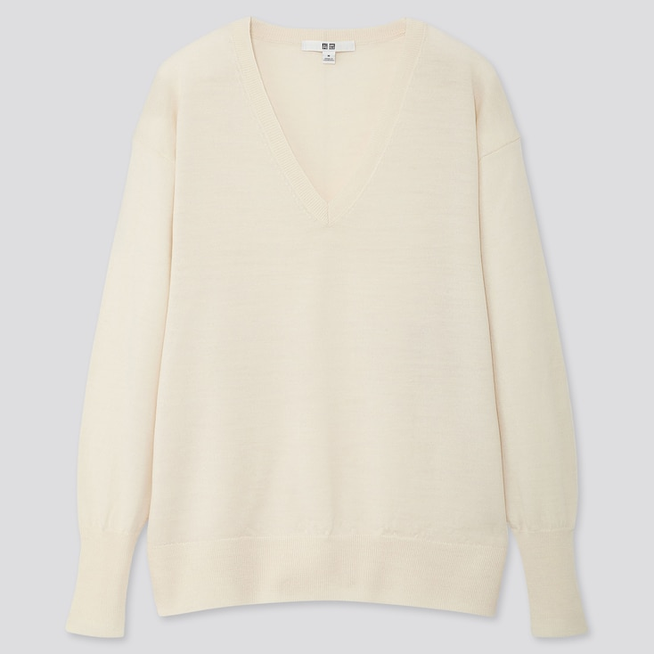 WOMEN EXTRA FINE MERINO RELAXED V-NECK SWEATER, OFF WHITE, large