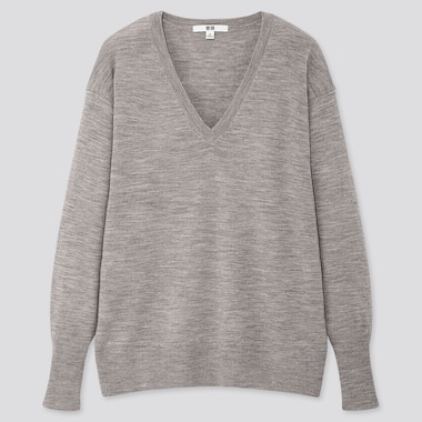 WOMEN EXTRA FINE MERINO RELAXED V-NECK SWEATER, GRAY, medium