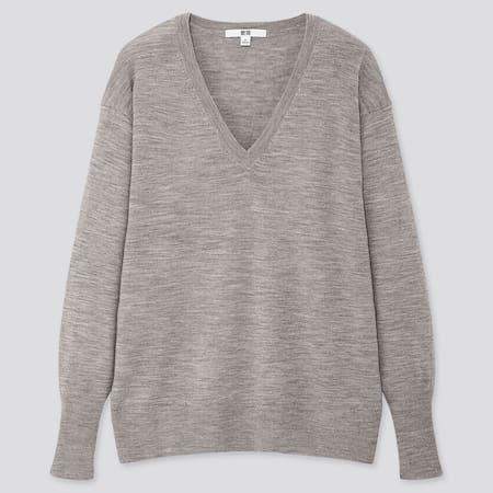 Women 100% Extra Fine Merino Wool Relaxed Fit V Neck Jumper
