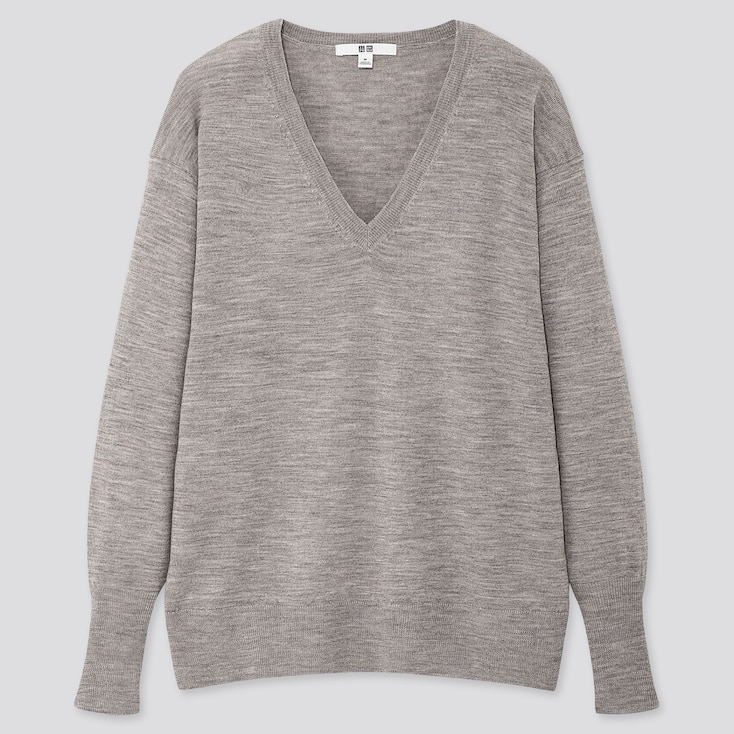 WOMEN EXTRA FINE MERINO RELAXED V-NECK SWEATER, GRAY, large