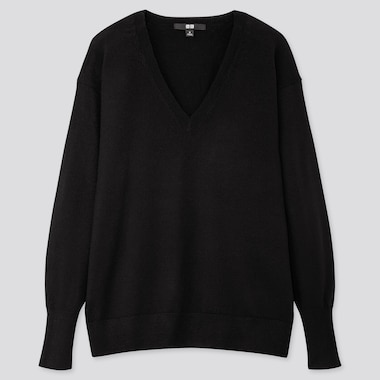 WOMEN EXTRA FINE MERINO RELAXED V-NECK SWEATER, BLACK, medium