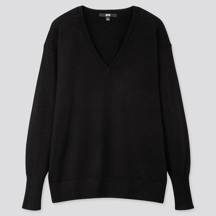 WOMEN EXTRA FINE MERINO RELAXED V-NECK SWEATER, BLACK, large