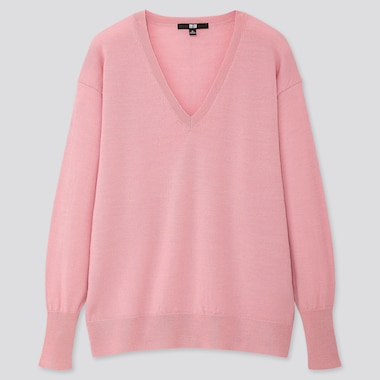 WOMEN EXTRA FINE MERINO RELAXED V-NECK SWEATER, PINK, medium