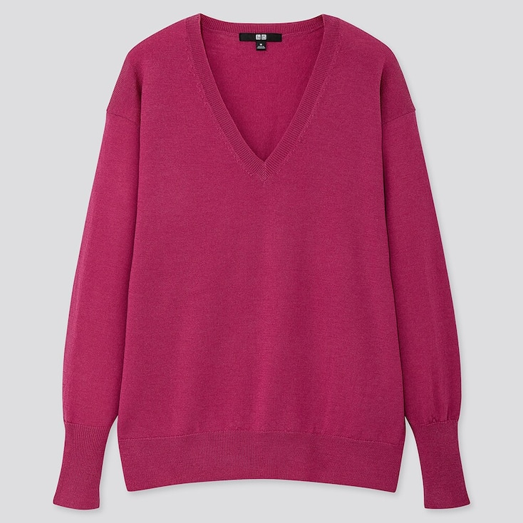 WOMEN EXTRA FINE MERINO RELAXED V-NECK SWEATER, PINK, large
