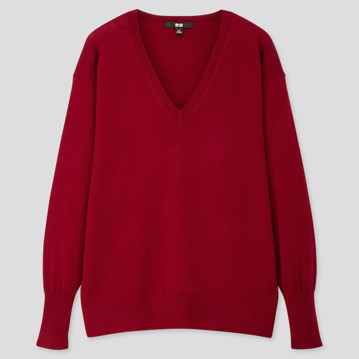 WOMEN EXTRA FINE MERINO RELAXED V-NECK SWEATER, RED, large