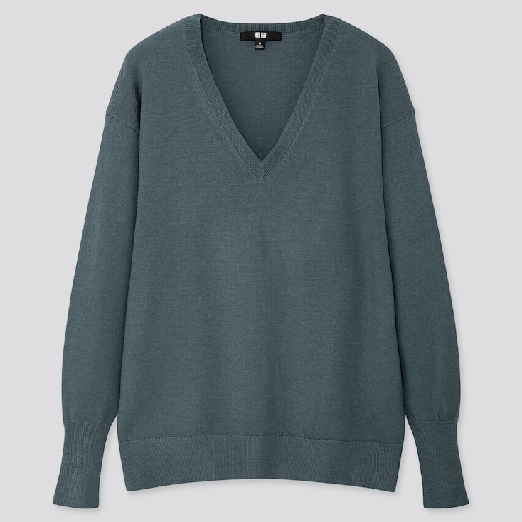 WOMEN EXTRA FINE MERINO RELAXED V-NECK SWEATER, GREEN, large