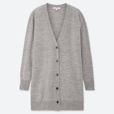 WOMEN EXTRA FINE MERINO V-NECK LONG CARDIGAN, GRAY, medium