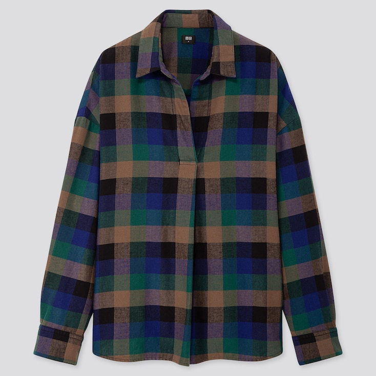 WOMEN FLANNEL CHECKED SKIPPER COLLAR LONG-SLEEVE SHIRT, DARK GREEN, large