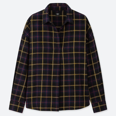 WOMEN FLANNEL CHECKED SKIPPER COLLAR LONG-SLEEVE SHIRT, NAVY, medium
