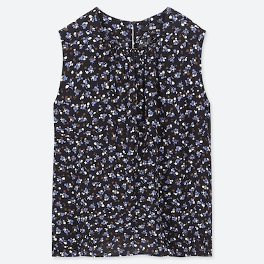 WOMEN PRINTED SLEEVELESS BLOUSE, BLUE, medium