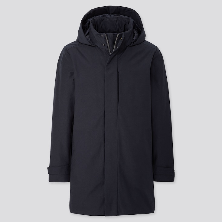 Men Hybrid Down Coat, Navy, Large