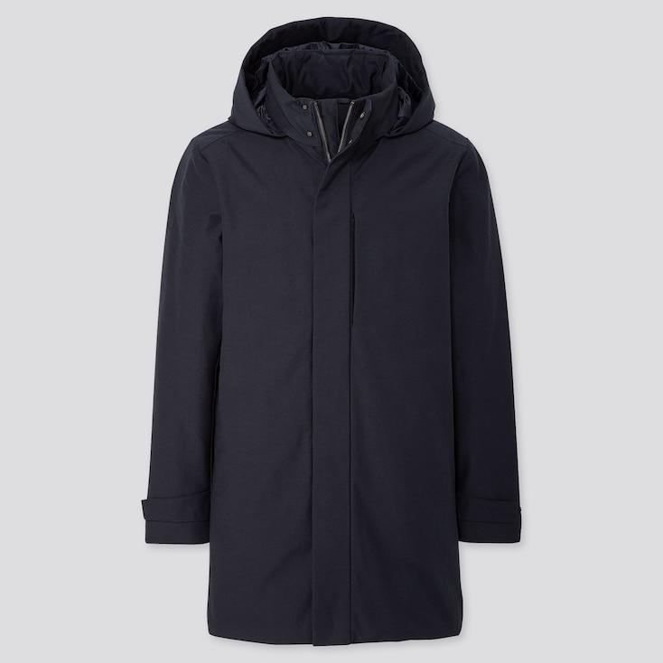 Men Hybrid Down Coat, Navy, Large