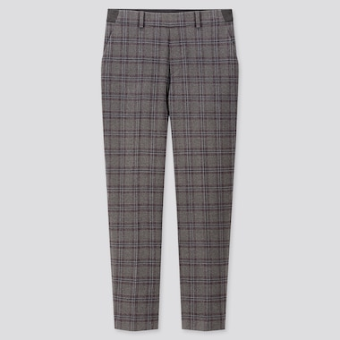 WOMEN EZY BRUSHED CHECKED ANKLE LENGTH TROUSERS