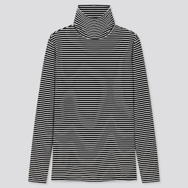 WOMEN HEATTECH STRIPED TURTLENECK THERMAL TOP