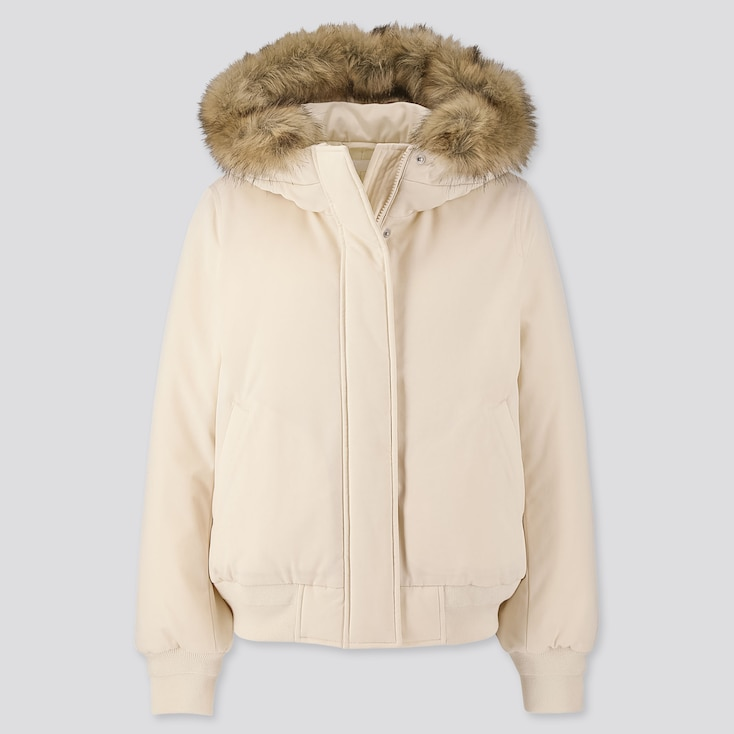 WOMEN PADDED HOODED RIBBED BLOUSON (ONLINE EXCLUSIVE), OFF WHITE, large
