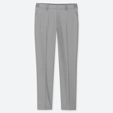 WOMEN EZY HOUNDSTOOTH ANKLE-LENGTH PANTS, LIGHT GRAY, medium