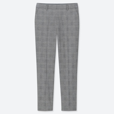 WOMEN EZY GLEN CHECK ANKLE-LENGTH PANTS, GRAY, medium