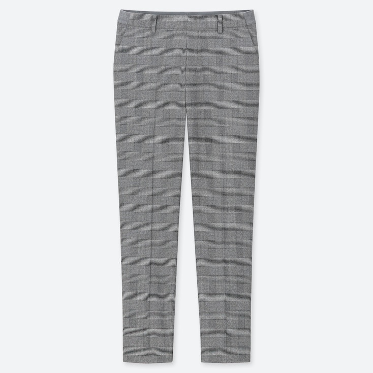 WOMEN EZY GLEN CHECK ANKLE-LENGTH PANTS, GRAY, large