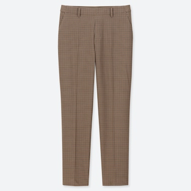"WOMEN EZY TATTERSALL ANKLE-LENGTH PANTS (TALL 30"") (ONLINE EXCLUSIVE), BROWN, medium"