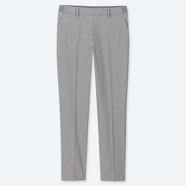 "WOMEN EZY HOUNDSTOOTH ANKLE-LENGTH PANTS (TALL 30"") (ONLINE EXCLUSIVE), LIGHT GRAY, medium"