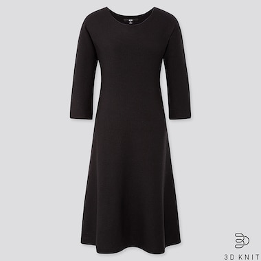e0b23cbfee882 WOMEN 3D KNIT EXTRA FINE MERINO CREW NECK FLARED DRESS