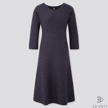 WOMEN 3D KNIT EXTRA FINE MERINO CREW NECK FLARED SHORT DRESS