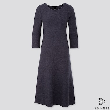 WOMEN 3D SEAMLESS KNIT EXTRA FINE MERINO CREW NECK FLARED 3/4 SLEEVED DRESS (LONG)