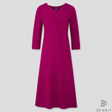 WOMEN 3D KNIT EXTRA FINE MERINO CREW NECK FLARED LONG DRESS